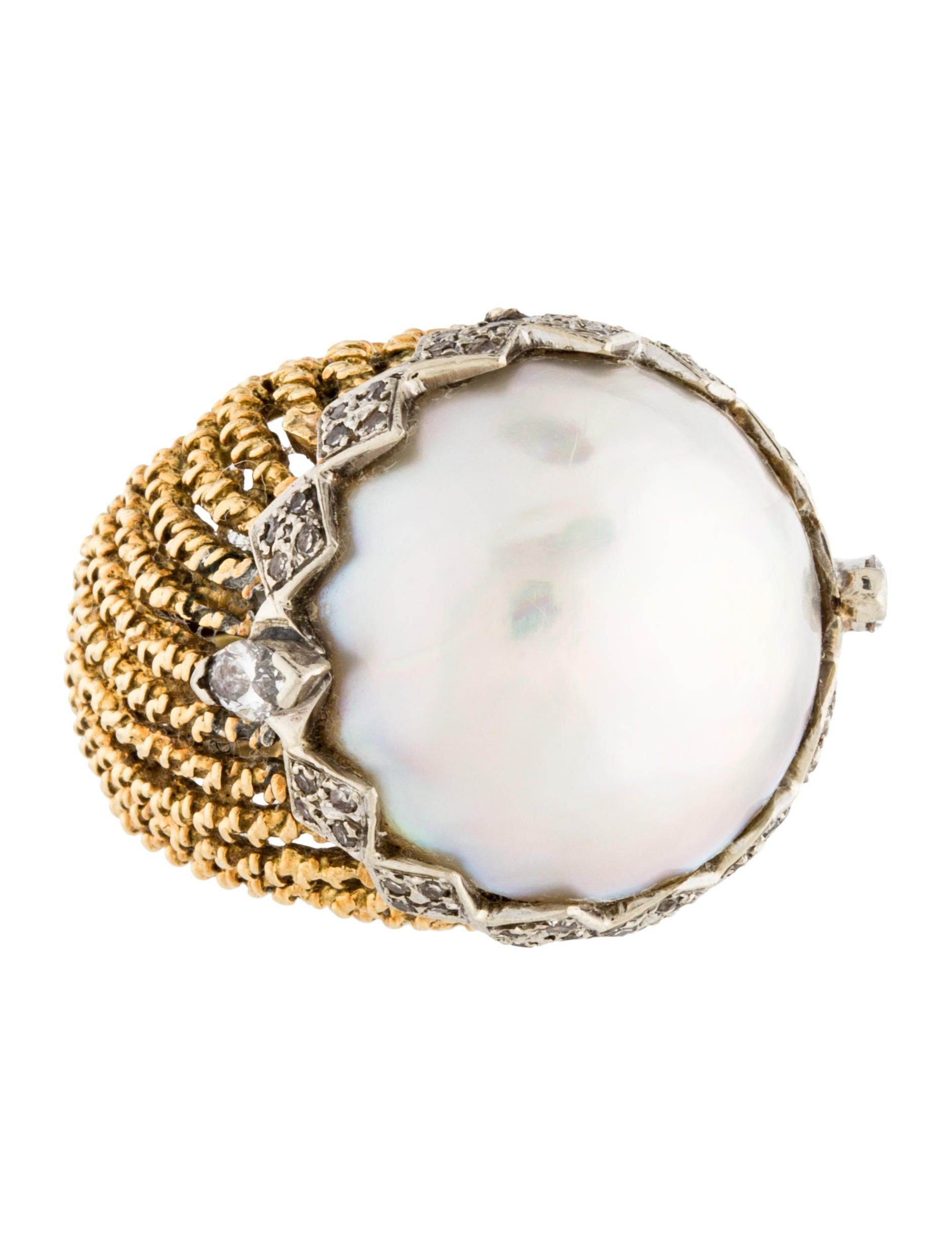 18k diamond pearl cocktail ring rings rring39793. Black Bedroom Furniture Sets. Home Design Ideas