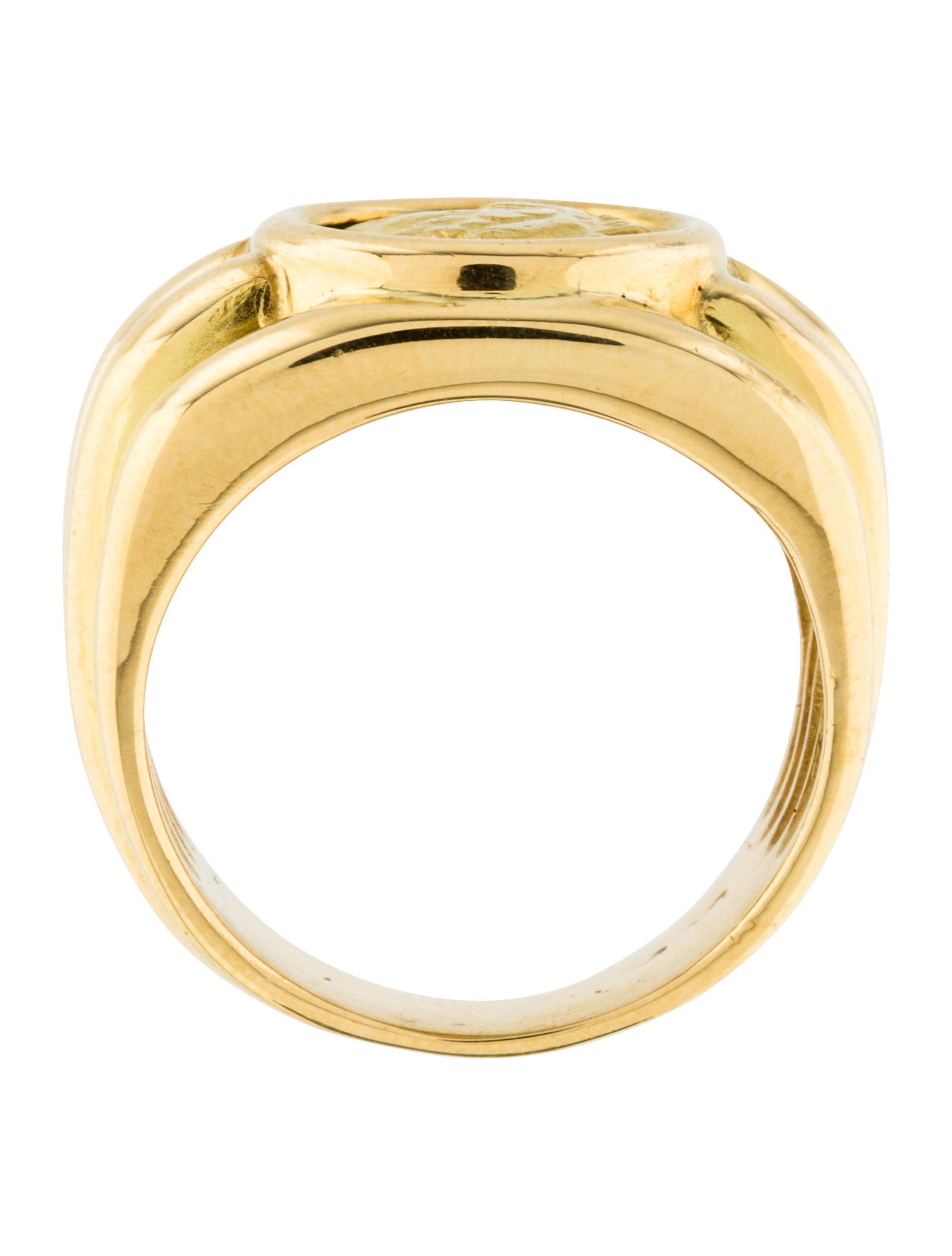 18k coin signet ring rings rring39923 the realreal