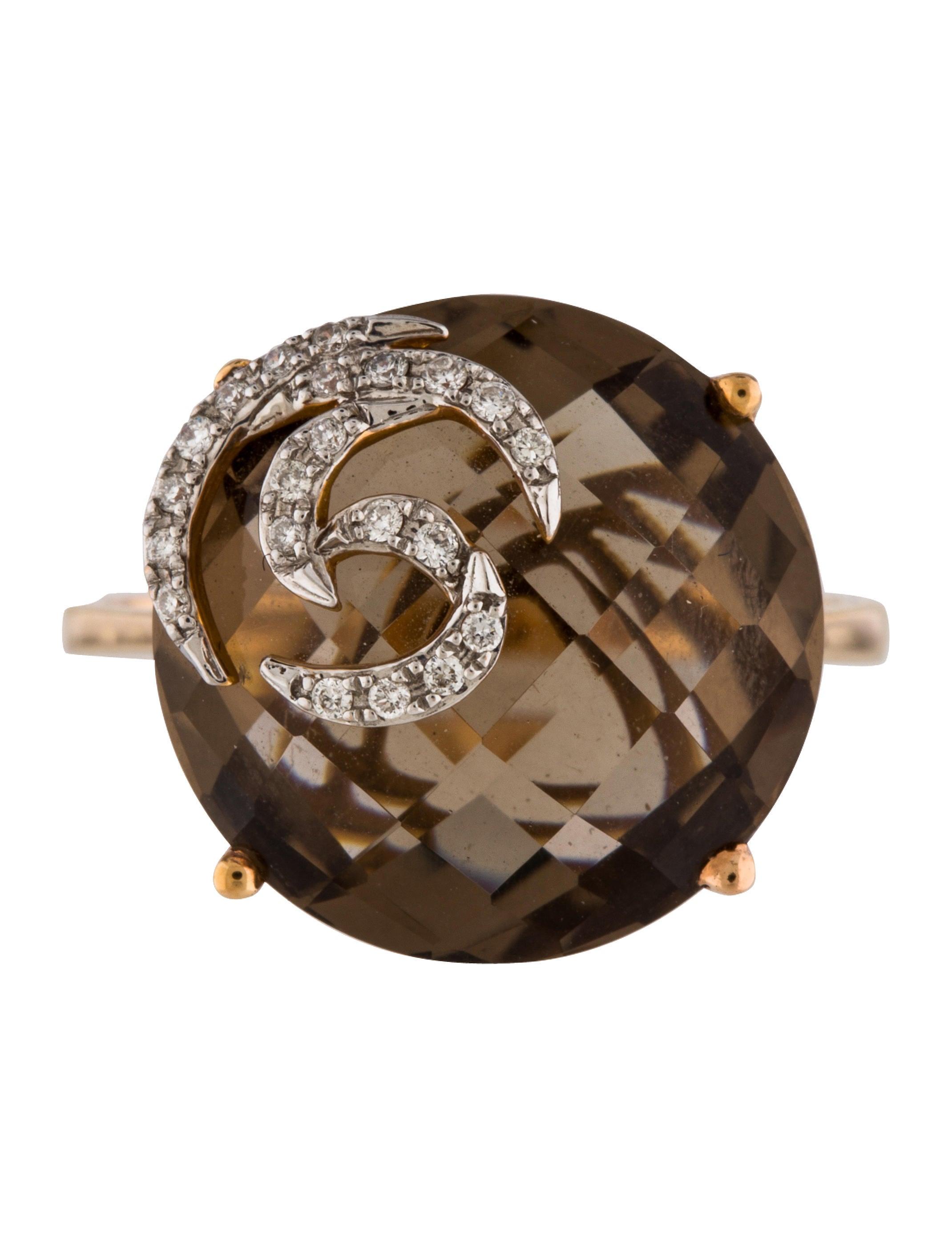 Checkerboard Smoky Quartz And Diamond Ring