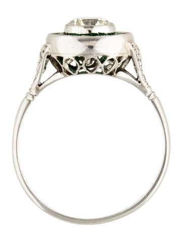 Platinum Diamond Amp Emerald Cocktail Ring Rings