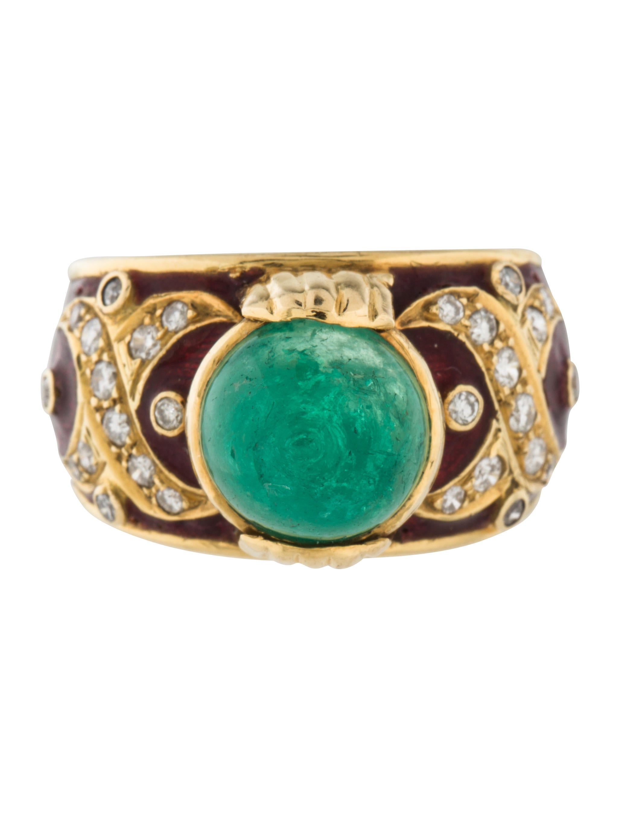 18k emerald enamel cocktail ring rings