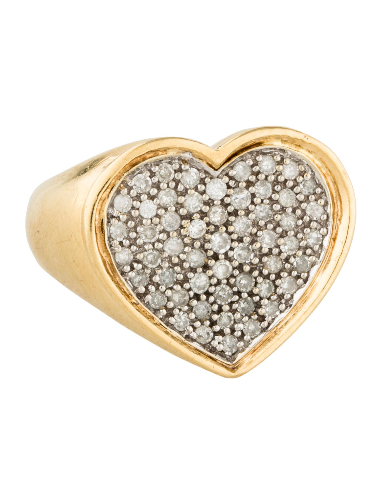 14K Diamond Heart Signet Ring - Rings
