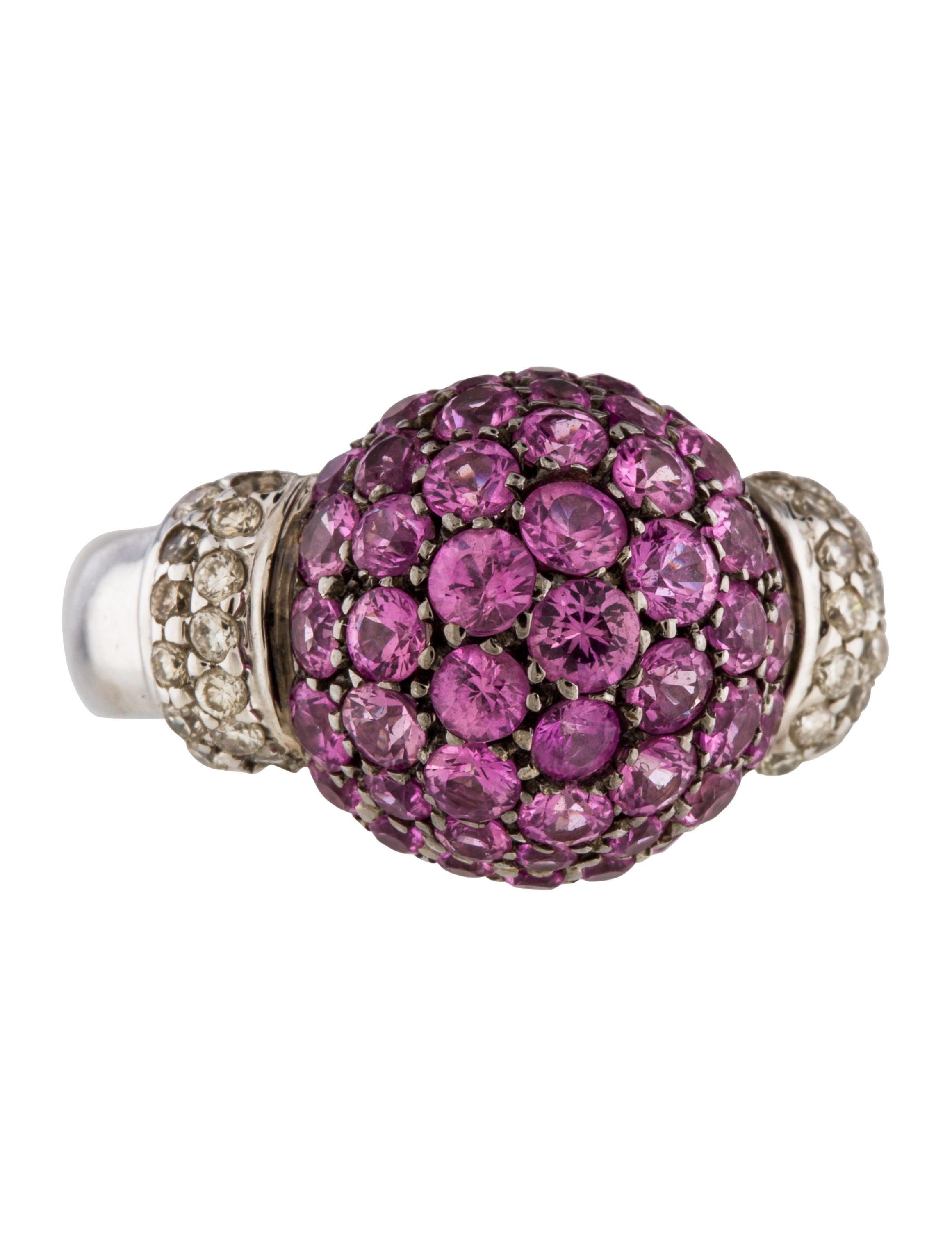 18K Pink Sapphire & Diamond Cocktail Ring - Rings ...