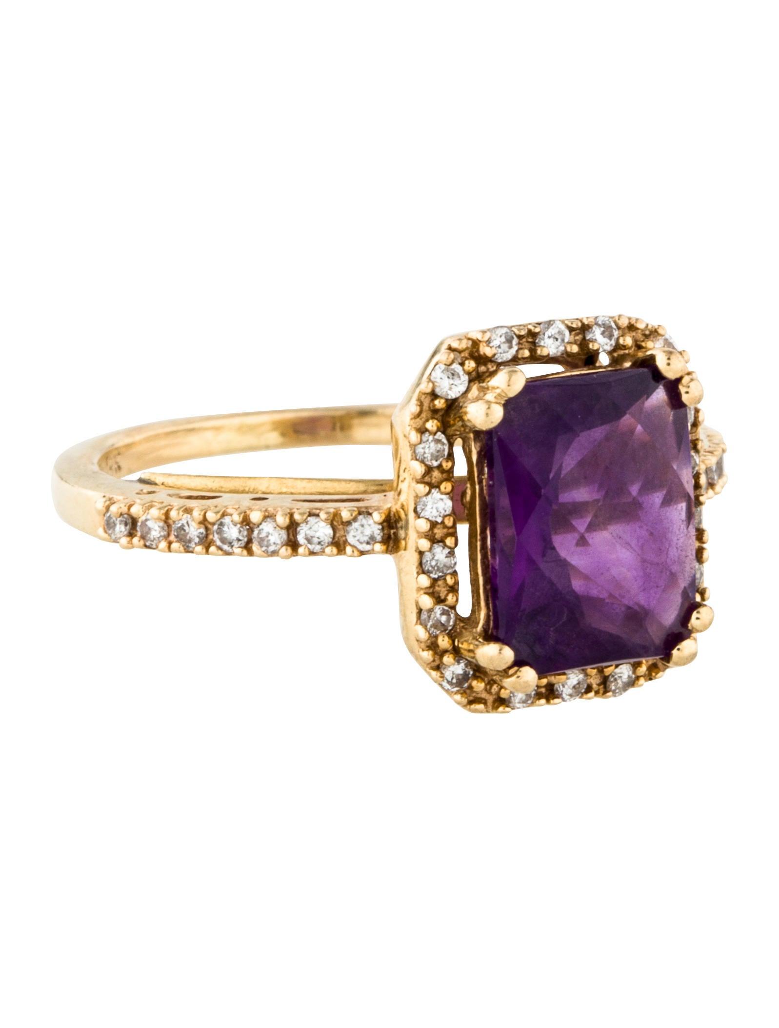 14k Amethyst Amp Diamond Cocktail Ring Rings Rring42878