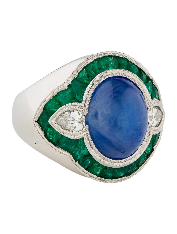 18k sapphire emerald diamond ring rings rring43963. Black Bedroom Furniture Sets. Home Design Ideas