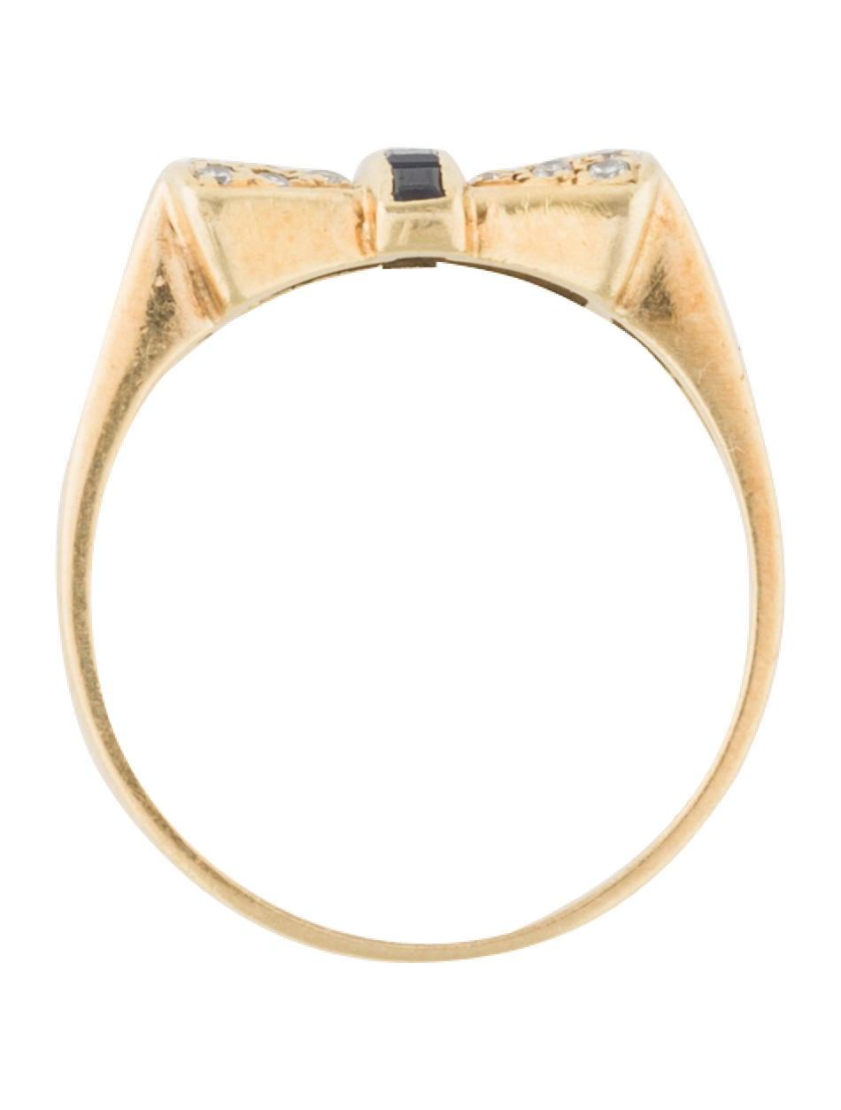 Ring Bow Il Gioiello Personalizzabile Con La Tua Nailart: 18K Diamond & Sapphire Bow Ring - Rings - RRING44197