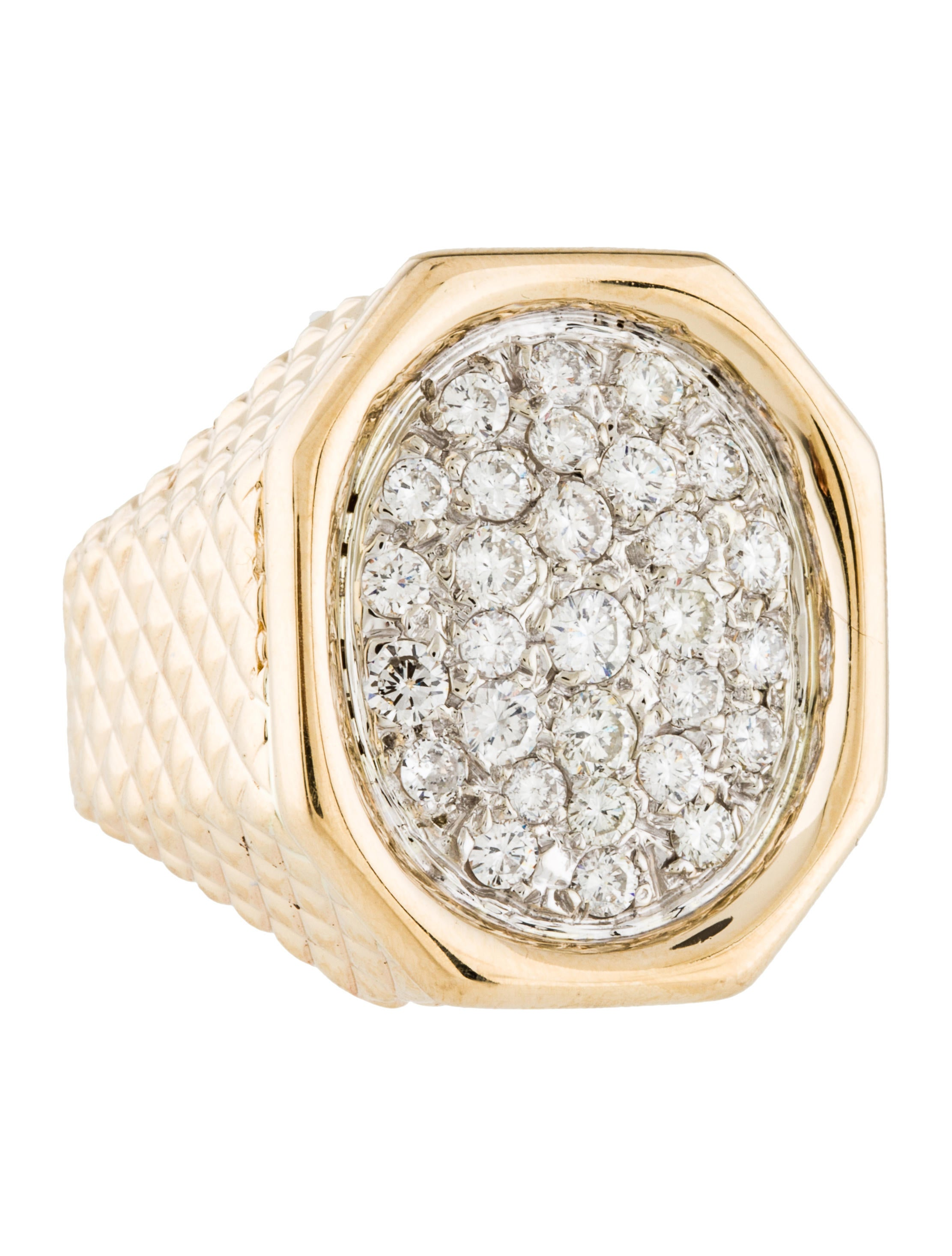 14K Diamond Signet Ring - Rings