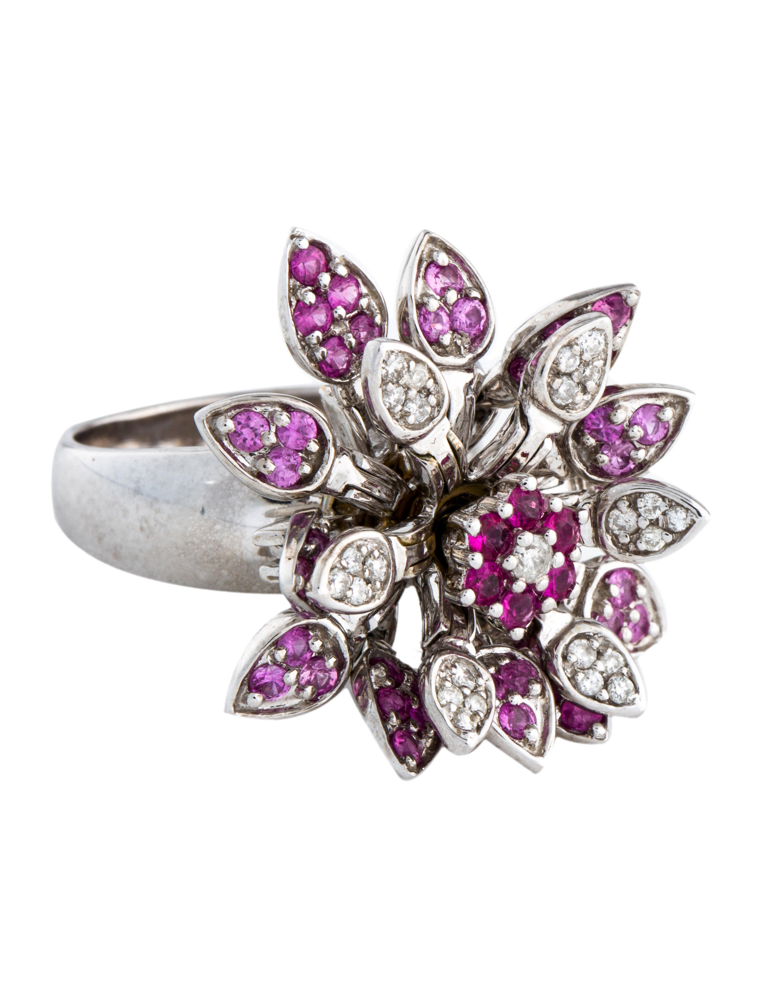 18k Pink Sapphire Diamond Articulated Flower Ring Rings