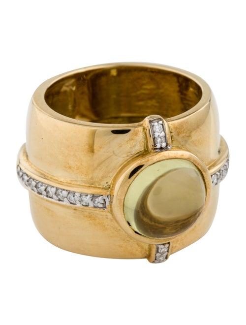 18K 2.57ct Yellow Quartz & Diamond Ring yellow