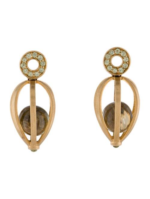 18K Yellow Quartz & Peridot Cage Earrings yellow