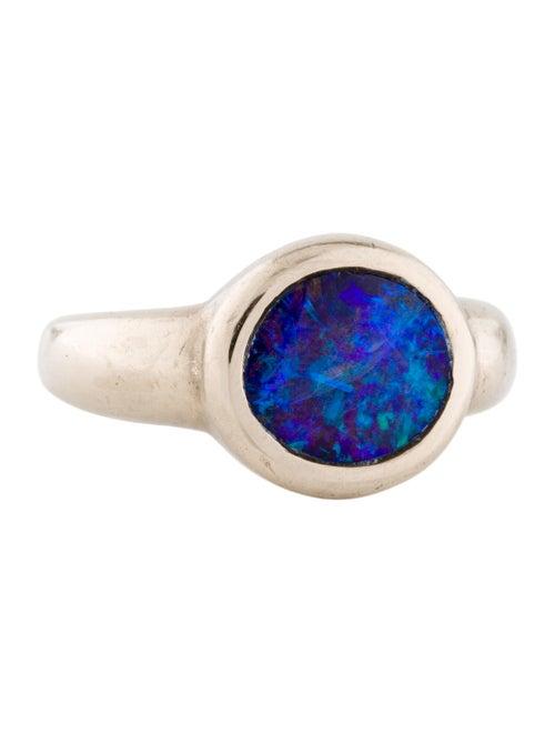 18K Black Opal Signet Ring white