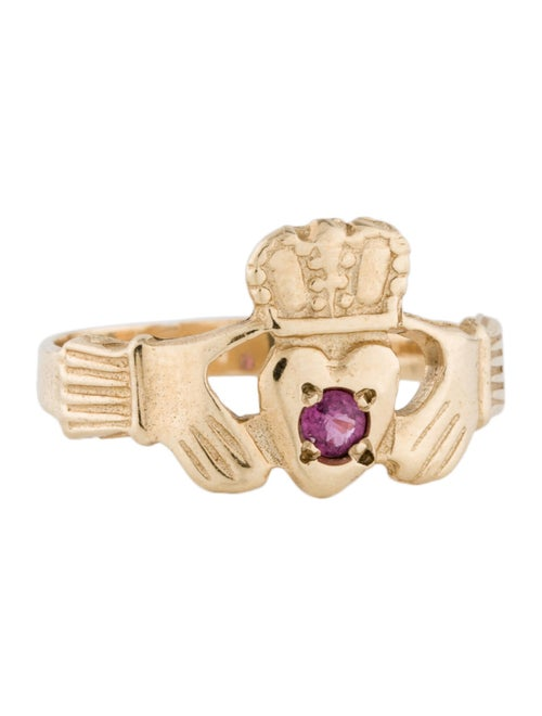 14K Pink Sapphire Claddagh Ring yellow