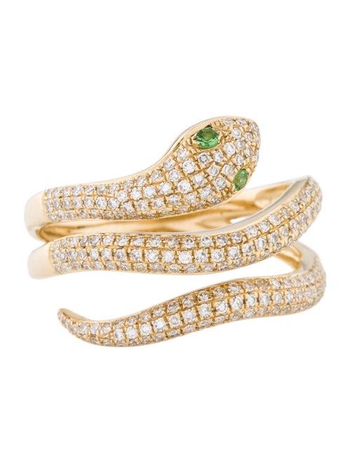 14K Tsavorite & Diamond Snake Cocktail Ring yellow