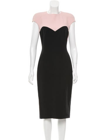 Talbot Runhof Colorblock Midi Dress
