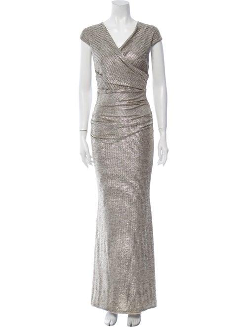 Talbot Runhof Printed Long Dress Gold