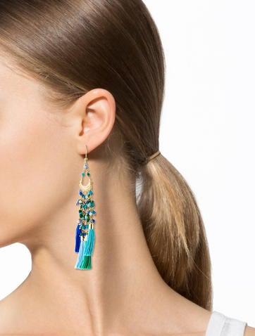 Dyed Quartz Tassel Earrings