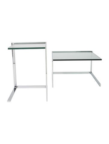 Ligne Roset Pair of Glass Side Tables None