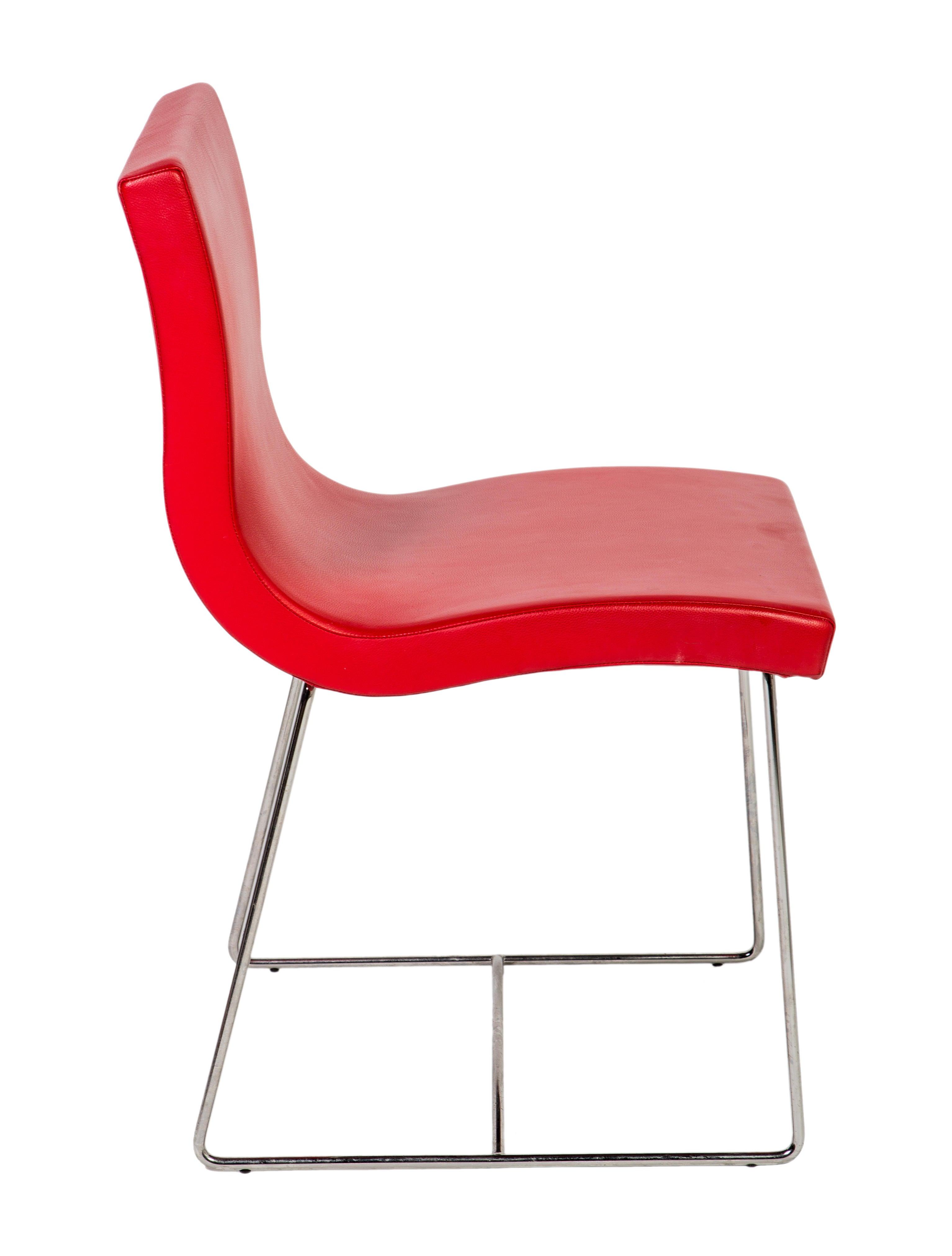 ligne roset pair of sala leather dining chairs furniture. Black Bedroom Furniture Sets. Home Design Ideas