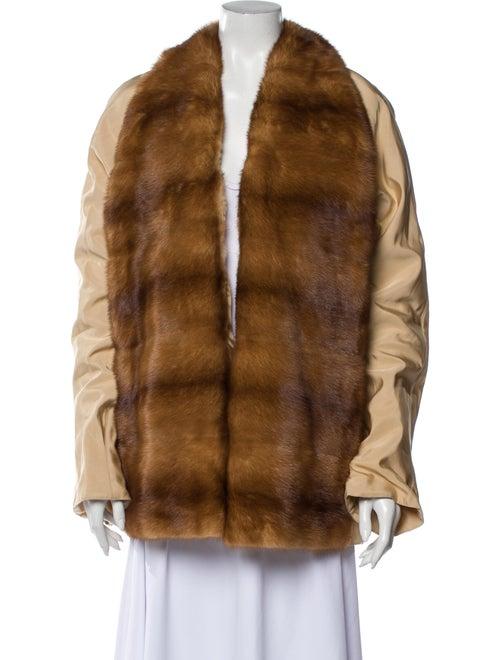 Revillon Silk Colorblock Pattern Coat