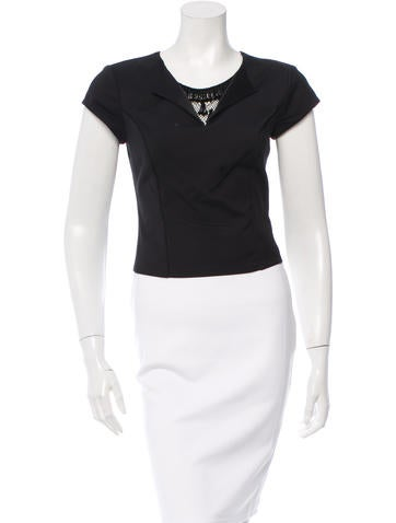 Sachin + Babi Noir Embellished Short Sleeve Crop Top