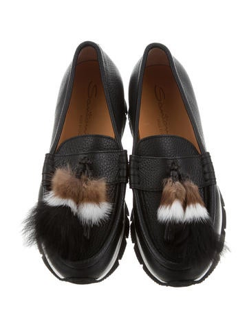 Loafers Platform Santoni Shoes Sai20363 Tags Mink Fur Trimmed W SPqItqn