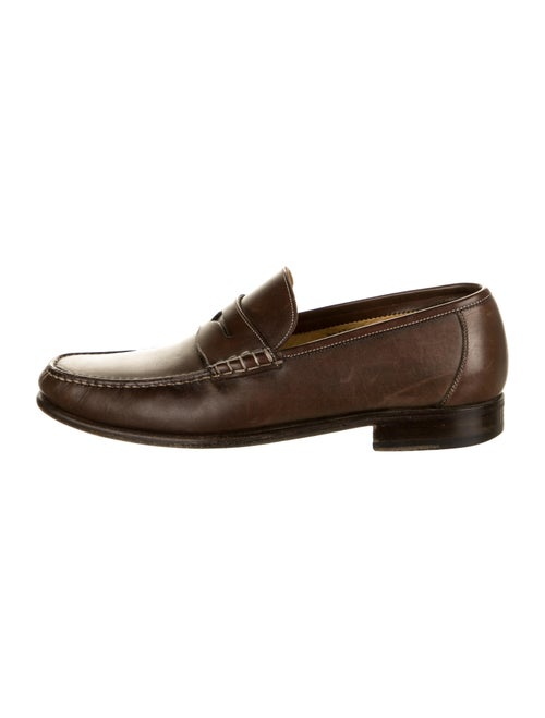 Santoni Leather Dress Loafers Brown