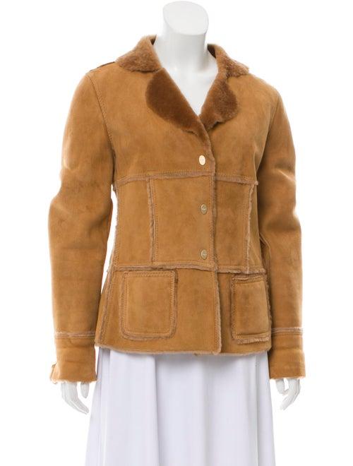 Salvatore Ferragamo Collared Shearling Jacket Brow
