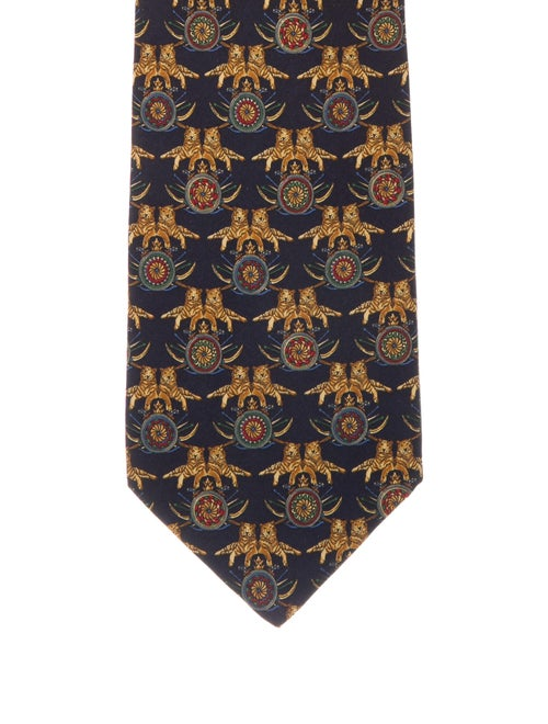 Salvatore Ferragamo Animal Print Silk Tie blue