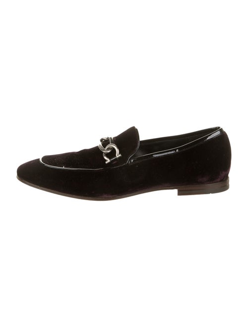 Salvatore Ferragamo Velvet Smoking Slippers silver