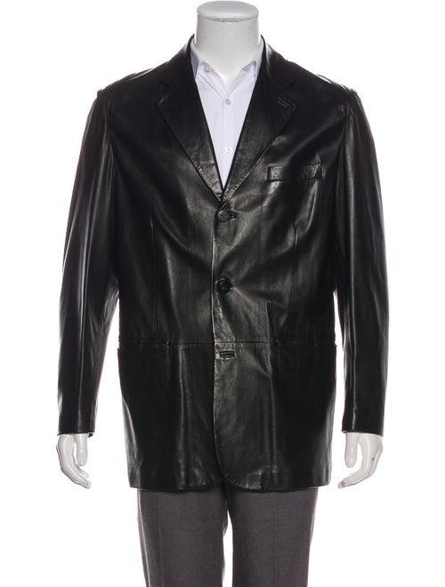 Salvatore Ferragamo Leather Notch-Lapel Blazer bla