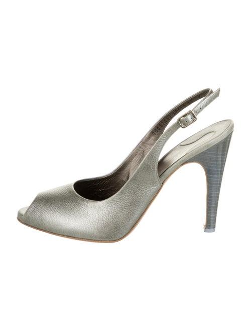 Salvatore Ferragamo Leather Slingback Pumps Grey