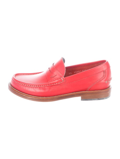 Salvatore Ferragamo Leather Penny Loafers red