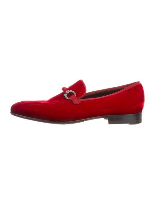 Salvatore Ferragamo Velvet Gancio Loafers red