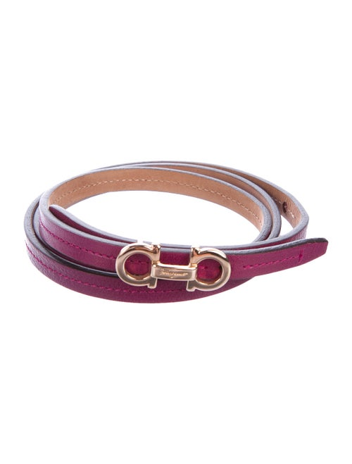 Salvatore Ferragamo Gancini Leather Belt Purple