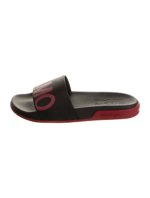 Salvatore Ferragamo Graphic Print Slides Black