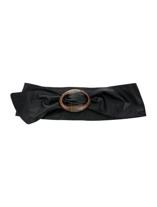 Salvatore Ferragamo Leather Wide Waist Belt Black