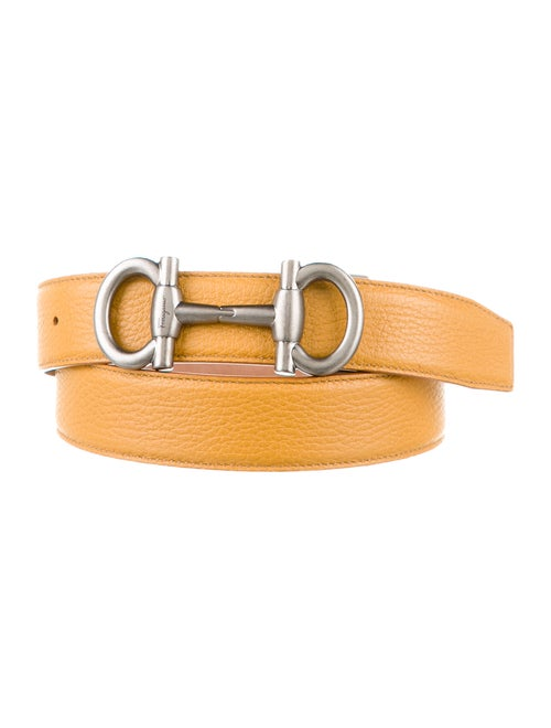 Salvatore Ferragamo Leather Gancio Belt yellow