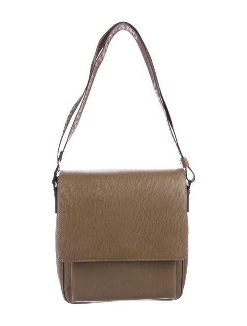 Salvatore Ferragamo Leather Messenger Bag Silver