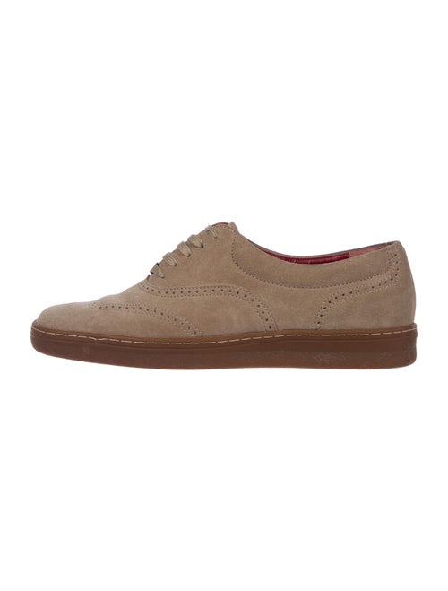 Salvatore Ferragamo Suede Eyelet Trim Oxfords