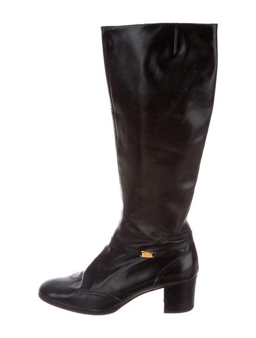 Salvatore Ferragamo Leather Riding Boots Black