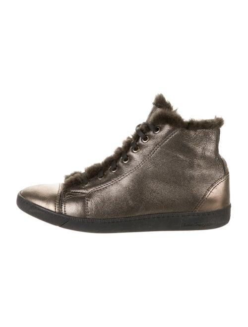 Salvatore Ferragamo Metallic Leather High-Top Snea