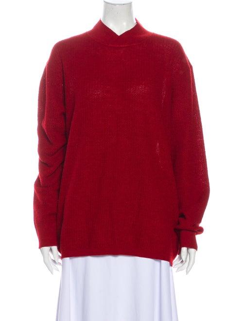 Salvatore Ferragamo Alpaca Mock Neck Sweater Red