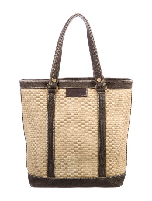 Salvatore Ferragamo Straw Shoulder Bag Brown