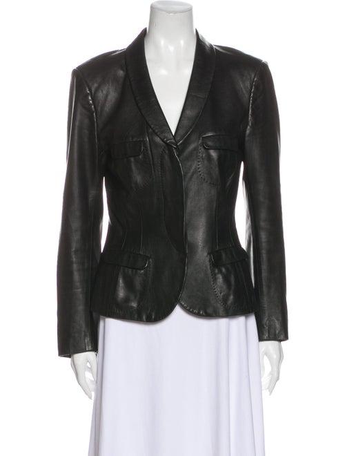 Salvatore Ferragamo Leather Blazer Black