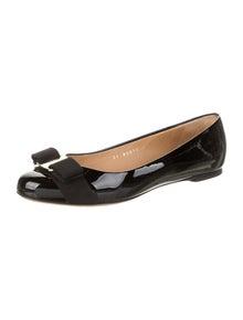 Salvatore Ferragamo Patent Leather Bow Accents Ballet Flats