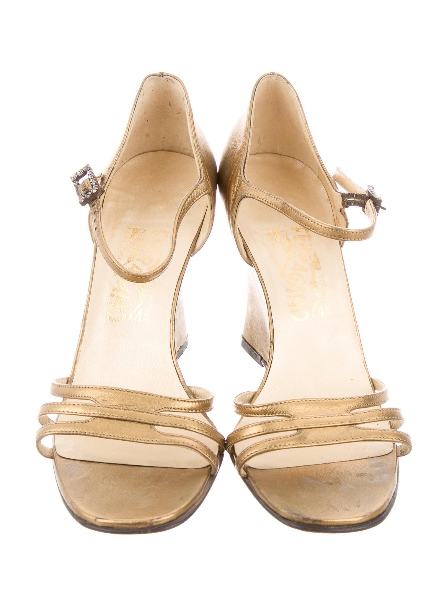 salvatore ferragamo metallic wedge sandals shoes