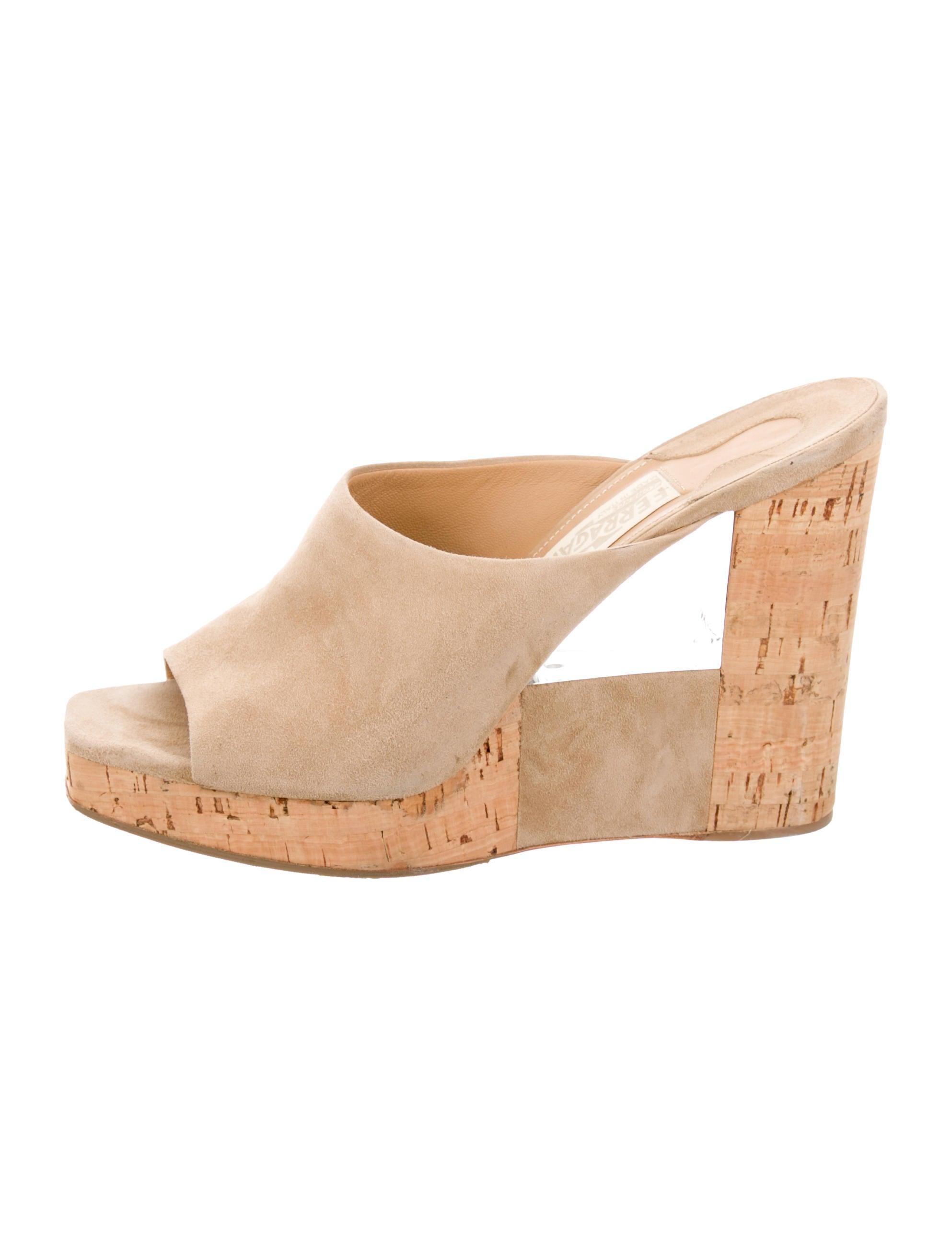 salvatore ferragamo suede slide wedges shoes sal35069