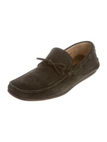 Suede Square-Toe Loafers