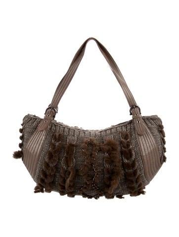 Salvatore Ferragamo Fur & Leather-Trimmed Shoulder Bag None