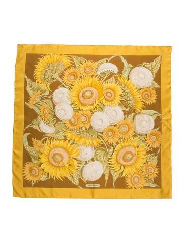 Sunflower Print Silk Scarf